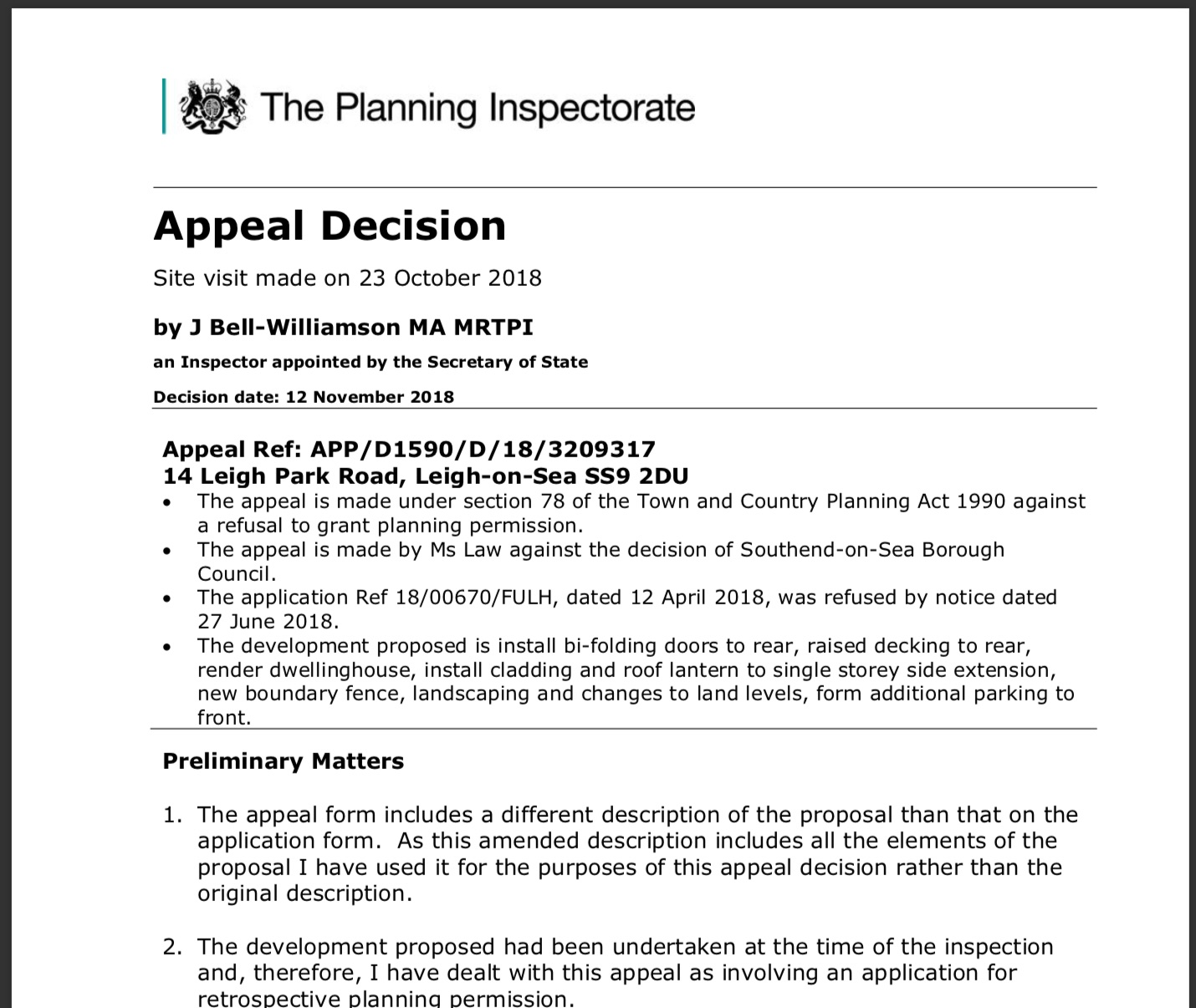 Appeal Against A Refusal Of Planning Permission For
